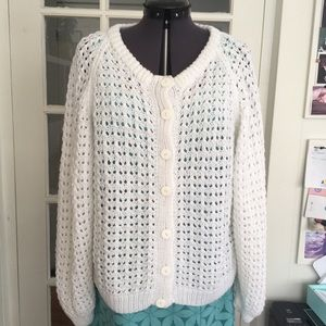Vintage Hand Crochet Button Front Cardigan Sweater